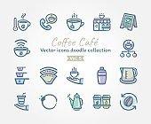 Coffee Café Vector icons doodle collection Vol.5