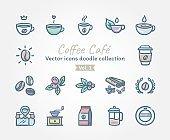 Coffee Café Vector icons doodle collection Vol.1