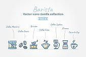 Barista vector icons doodle collection