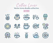 Coffee Lover vector icons doodle collection Vol.1