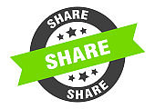 share sign. share black-green round ribbon sticker