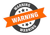 warning sign. warning orange-black round ribbon sticker