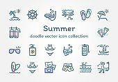 Summer doodle vector icon collection