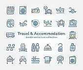Travel & Accommodation doodle vector icon collection
