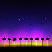 오로라와 나무가 있는 풍경