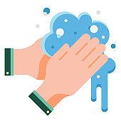 Hand washing flat illustration