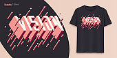 Vision. Graphic t-shirt design, typography, print with 3d styled text.