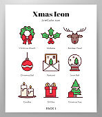 Christmas icons LineColor Pack