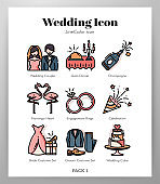 Wedding icons LineColor pack