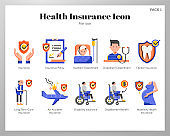 Health insurance icons flat pack