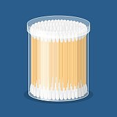 Cotton swab in container isolated on blue background. Care and hygiene. Wooden ear stick and cosmetic bud. Bath and makeup symbols.