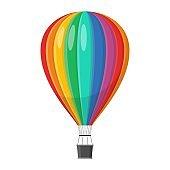 Aerostat Balloon transport with basket icon isolated on white background, Cartoon rainbow air-balloon ballooning adventure flight, ballooned traveling flying toy
