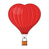 Hot air balloon shape of a heart with basket isolated on white background, Red Aerostat cartoon air-balloon traveling valentine's day, wedding.