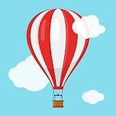 Aerostat Balloon transport with basket flying in blue sky and clouds, Cartoon air-balloon icon ballooning adventure flight, ballooned traveling flying toy