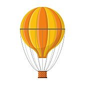 Aerostat Balloon transport with basket icon isolated on white background, Cartoon spherical air-balloon ballooning adventure flight, ballooned traveling flying toy