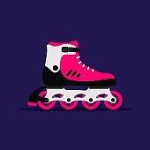 Roller skates isolated on dark blue background. Skating girl shoe on wheels. Roller skating