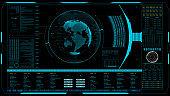 HUD The world digital data cyber technology background.