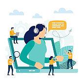 Call center, customer support. Hotline operator advises client.