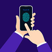 Man hold mobile phone to unlock with finger. Fingerprint security on smartphone.