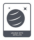 uranus with satellite icon vector on white background, uranus with satellite trendy filled icons from Astronomy collection