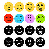 Emoticon icons flat circle shape with hand drawn face emotions.