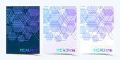 Modern vector templates for brochure, cover, banner, flyer, annual report, leaflet. Abstract art composition with hexagons, connecting lines and dots. Digital technology or medical concept. stock illustration