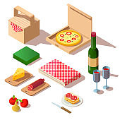 Isometric picnic set of pizza box, wine and basket