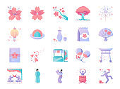 Cherry blossom festival icon set. Included icons as Sakura, blooming, fair, flower, japan and more.