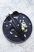 Spring tabble setting with cutlery