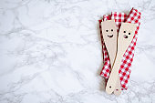 Kitchen wooden spoons with smiles