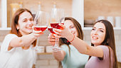 cheers party women glass red wine alcohol abuse