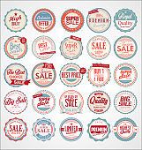 Set of Retro vintage colorful labels and badges