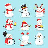 Cute christmas snowmen flat vector illustrations set
