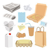 Paper trash icon set, garbage recycle concept