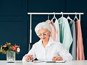 elderly woman portrait busy seniority workplace