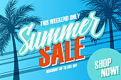 Summer Sale promotional banner. Summertime season special offer background with hand lettering and palm trees for business, discount shopping, promotion and advertising. Shop now.