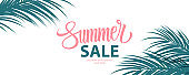 Summer Sale special offer banner. Summertime seasonal background with hand lettering and palm leaves for business, seasonal shopping, promotion and advertising.