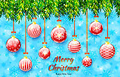 Merry Christmas and Happy New Year banner. Holiday vector illustration with Christmas tree branches and Christmas balls on blue background