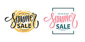 Summer Sale promotional templates set. Summertime seasonal special offer text design with hand lettering for business, seasonal shopping, promotion and advertising.