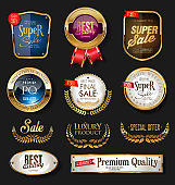 Luxury golden badges and labels collection