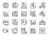 Global healthcare line icon set. Included icons as exercise, health check, healthy food, wellness center, doctor and more.