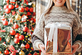merry christmas lady gift box decorated fir tree