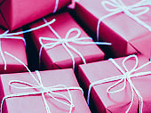 gift delivery service magenta boxes white cord