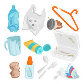 Plastic waste set, pollution and environment concept