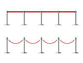 Barrier ropes for exhibition show vector illustrations set