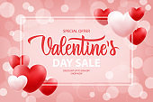 Valentine's Day Sale special offer promotional banner with hand drawn lettering and hearts for holiday shopping. Discount up to 50% off. Shop now.