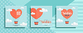 Valentines Day Sale promotional cards set. Valentine's Day special offers with hot air balloon and hand lettering for business, holiday shopping, commerce and advertising.