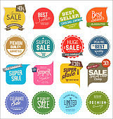 Sale banner templates design and special offer tags collection