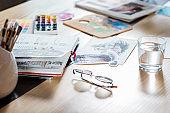 artist workplace atmosphere sketchbook palette