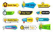 Quick tips icon set, information banner design